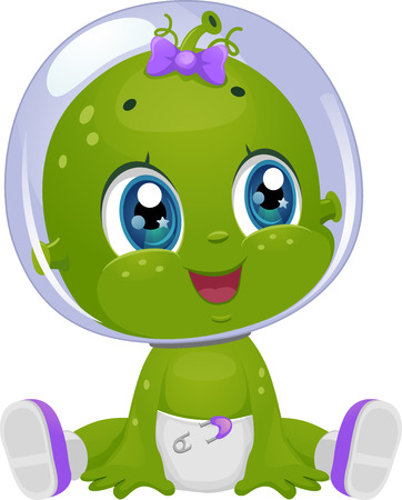 tot: Illustration Featuring a Female Baby Alien Looking to Her Right