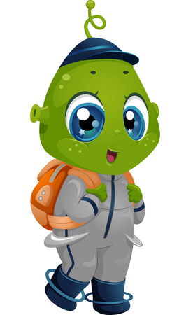 Illustration Featuring an Alien Boy Wearing a School Bag