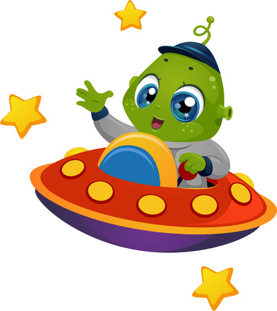 Illustration Featuring an Alien Boy Riding a Spaceship Ilustração