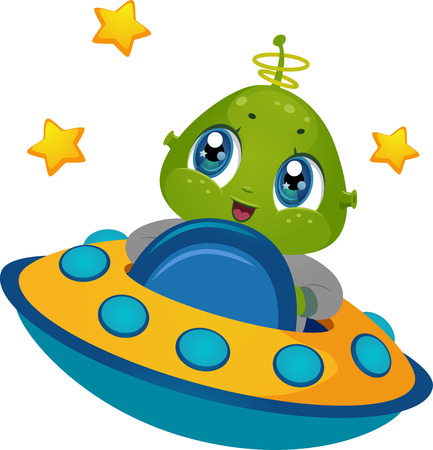 Illustration Featuring an Alien Boy Driving a Spaceship