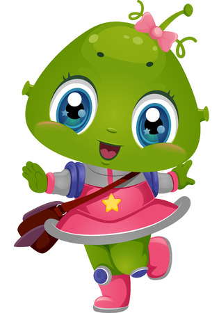 Illustration Featuring an Alien Girl Wearing a School Bag