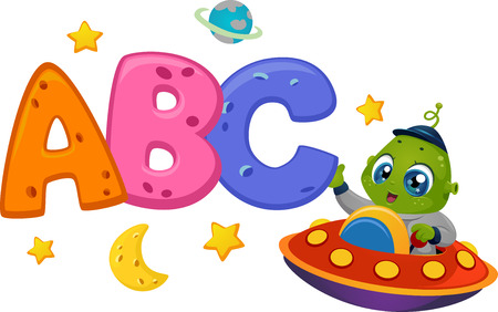 Educational Illustration Featuring an Alien in a Spaceship Reaching Out to Letters of the Alphabet Ilustração