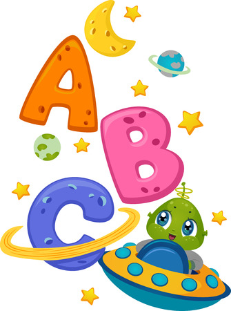 Educational Illustration Featuring an Alien in a Spaceship Surrounded by Letters of the Alphabet Ilustração