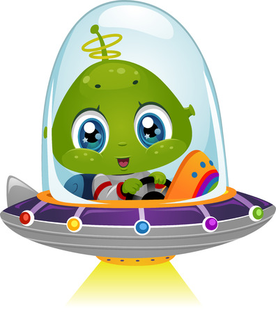 Illustration Featuring an Alien Boy Using His Spaceship's Light Beam