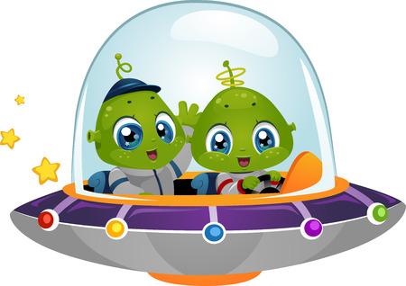 우주선을 운전하는 귀여운 작은 외계인을 갖춘 그림 일러스트
