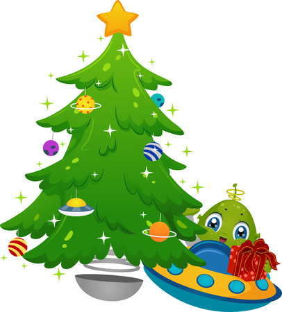 Illustration Featuring an Alien in a Spaceship Placing Gifts Under a Christmas Tree Ilustração
