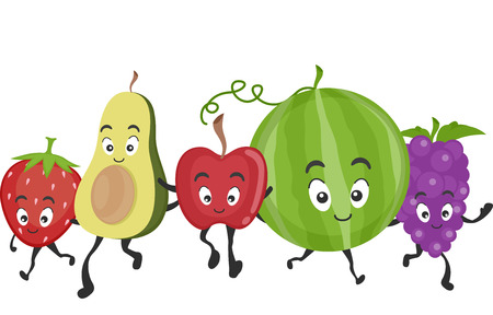 assortment: Mascot Illustration Featuring a Wide Assortment of Delicious and Healthy Fruits Illustration