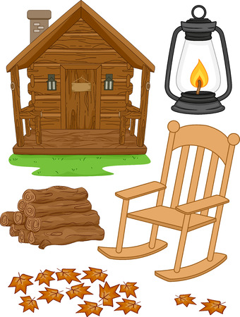 chair wooden: Illustration Featuring Different Elements Typically Associated with Log Cabins