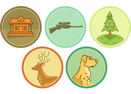associated: Icon Illustration Featuring Different Items Typically Associated with Hunting