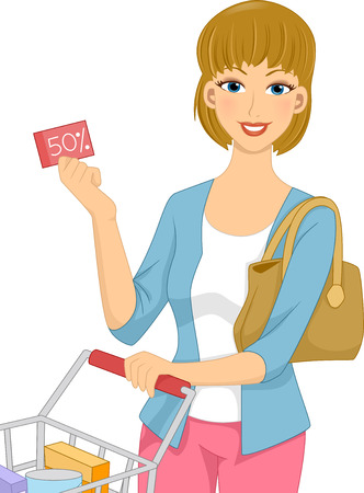 Illustration Featuring a Woman Pushing a Shopping Cart Holding a Discount Coupon Vector