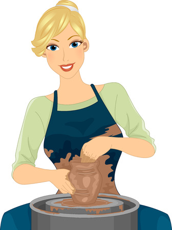 Illustration Featuring a Female Potter in an Apron Molding Clay