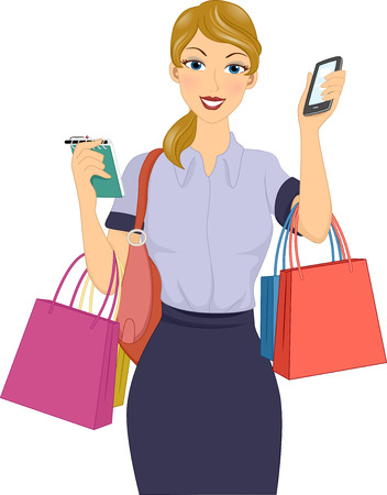 personal shopper: Illustration Featuring a Personal Shopper Holding a Checklist and a Smartphone Illustration