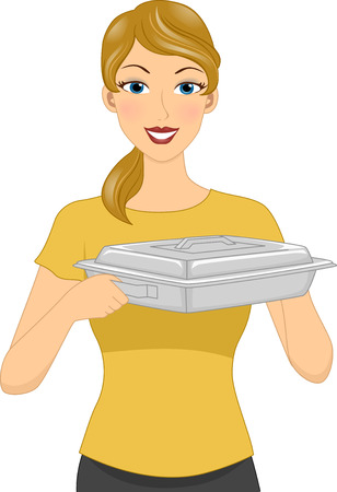 homely: Illustration Featuring a Homely Looking Woman Carrying a Food Warmer