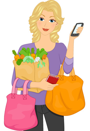 personal shopper: Illustration Featuring a Woman Carrying Shopping Bags Filled with Vegetables Illustration