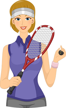 pastimes: Illustration Featuring a Female Squash Player Holding a Racket and a Ball