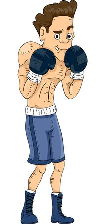 pugilist: Ilustraci�n con un boxeador masculino Viendo una actitud defensiva
