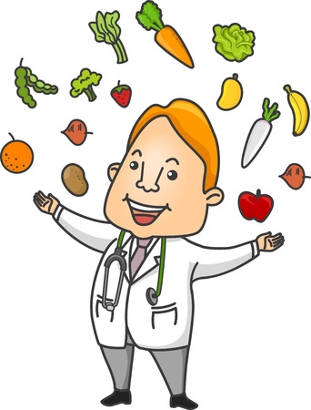 diet cartoon: Illustration Featuring a Doctor Surrounded by Fruits and Vegetables He Recommends