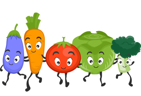 cartoonize: Mascot Illustration Featuring a Wide Variety of Healthy Vegetables Illustration