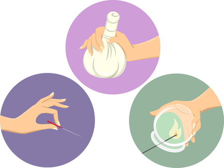 Icon Illustration Featuring Different Types of Alternative Treatments