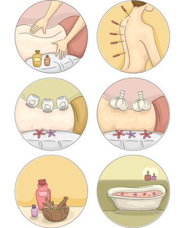 Icoon Illustratie Met verschillende soorten van alternatieve behandelingen Stock Illustratie
