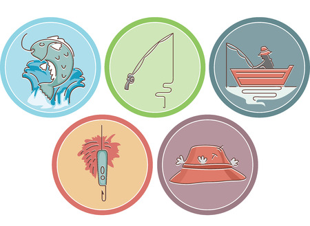 fishing pole: Icon Illustration Featuring Different Items Typically Associated with Fishing