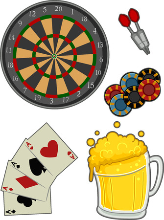 associated: Illustration Featuring Different Items Typically Associated with Pubs