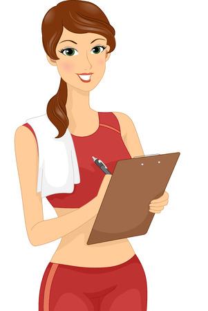 educacion fisica: Ilustración con un entrenador físico Mujer que sostiene un sujetapapeles