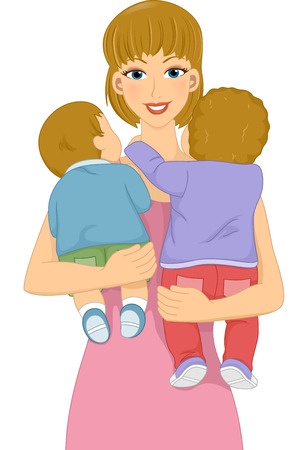 nanny: Illustration Featuring a Female Babysitter Carrying Babies in Her Arms