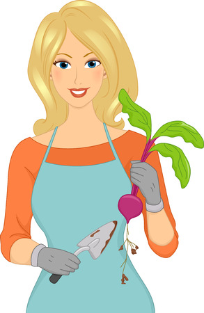 Illustration Featuring a Female Gardener Holding a Trowel in One Hand and Beets in the Other Vector