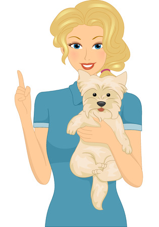 carrying out: Illustration Featuring a Woman Carrying a Dog Giving Out Reminders