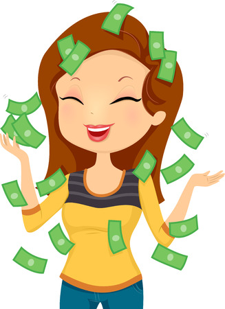happily: Illustration Featuring a Smiling Happily While Money Pours Down on Her Illustration