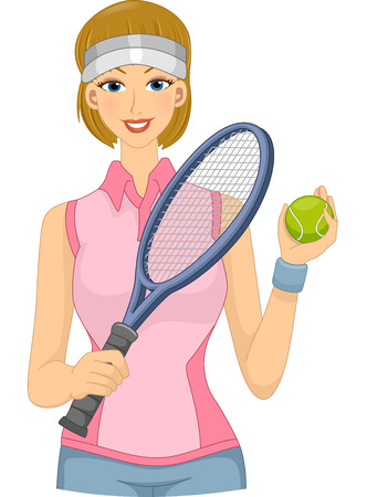 ball cartoon: Illustration Featuring a Female Lawn Tennis Player Holding a Racket and a Ball