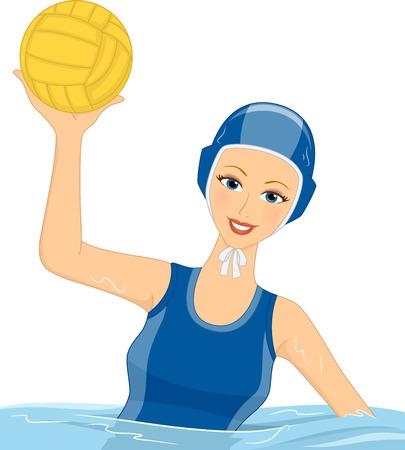 waterpolo: Ilustración que ofrece un jugador de polo femenino Agua sosteniendo una pelota Vectores