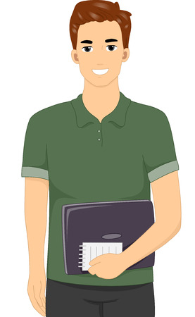 cartoon adult: Illustration Featuring a Male Blogger Carrying a Notebook and a Notepad