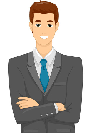 formal attire: Illustration Featuring a Male Businessman Wearing Corporate Attire