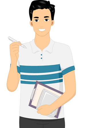 stylus: Illustration Featuring a Man Carrying a Graphics Tablet and a Stylus