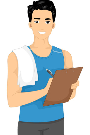 Illustration Featuring a Male Fitness Trainer Holding a Clipboard