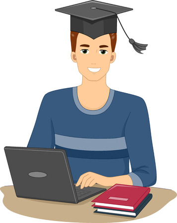 undergraduate: Illustration Featuring a Man Who Graduated From an Online Course