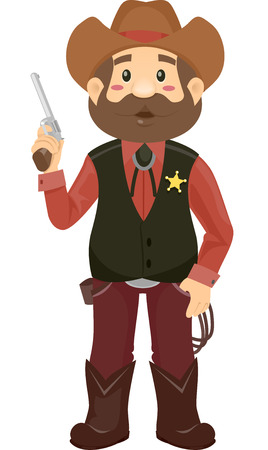 Illustration Featuring a Man Wearing a Sheriffs Costume Holding a Revolver