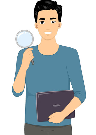 researcher: Illustration Featuring a Male Web Researcher Holding a Magnifying Glass Illustration