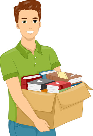 cartoon adult: Illustration of a Man Carrying a Heavy Box Filled With Books Illustration