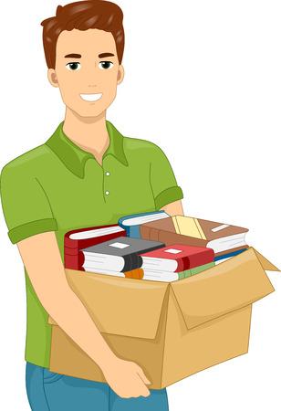 carrying box: Ilustraci�n de un hombre que lleva una caja pesada llena de libros