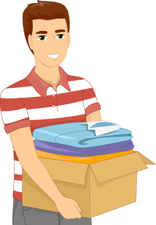 man carrying box: Illustration of a Man Carrying a Heavy Box Filled With Clothes