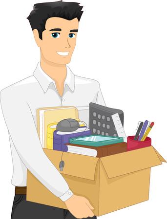renuncia: Ilustraci�n de un hombre que lleva una caja pesada llenas de �tiles de oficina