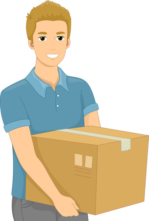 Illustration of a Man Carrying a Heavy Package Vector