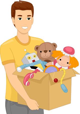 carrying box: Ilustraci�n de un hombre que lleva un rect�ngulo pesado lleno de juguetes para ni�os