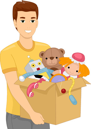 Illustration of a Man Carrying a Heavy Box Filled With Childrens Toys Illustration