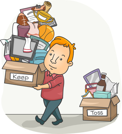 spring cleaning: Illustration of a Man Sorting Between Things to Keep and Things to Toss