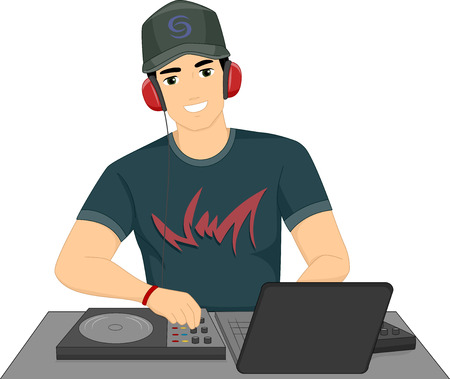 Illustration of a Male Disc Jockey Mixing Songs Using His Turntable