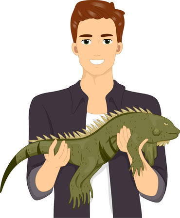 exotic pet: Illustration of a Smiling Man Holding His Exotic Pet Iguana